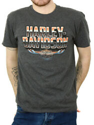 Harley Davidson Mens Forged Chrome Bamp;S Charcoal Short Sleeve T Shirt $9.99