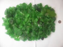 BEACH SEA GLASS SURF TUMBLED GREEN  LOT OVER 200 PIECES $19.99