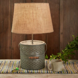 Bait Bucket Metal Lamp With Fabric Lamp Shade by Park Designs. Country Lamp $149.95