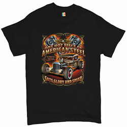 One Hot Piece of American Steele Men#x27;s T shirt Route 66 Hot Rod Racing Tee $19.99