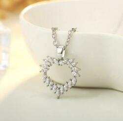 Love Heart 925 Sterling Silver SP Pave 1 Ct Cubic Zirconia Pendant Necklace