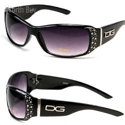 Womens Rhinestones Wrap Around Sunglasses Designer Fashion Shades Retro Bling