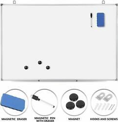 36 x 24 inch Magnetic Whiteboard Wall Hanging Board with Eraser Marker Pen $25.99