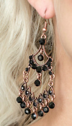 Paparazzi Earrings - Palace Princess - Copper (with Black)