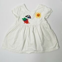 Hanna Anderson White Sun & Strawberry Beach Patch Print Play Dress Size 8 Cotton $19.99