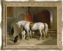 Hand painted Old Master Art Antique Animal Oil Painting horse Dog on canvas $550.00