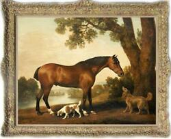 Hand painted Old Master Art Antique Animal Oil Painting horse Dog on canvas $490.00