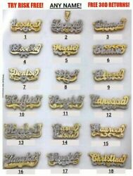 Personalized Silver & Gold Script Double Any Name Plate Necklace Free Chain USA  $37.99