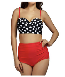 Women High Waisted Two Piece Swimsuits Push Up Bathing Suits Polka Dot Medium $7.00