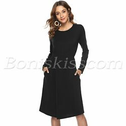 Women Cocktail Long Sleeve Scoop Neck Ruched Waist Loose Maxi Party Dress Pocket $18.99
