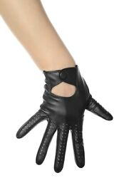 BLACK LEATHER DRIVING GLOVES LES DEBUTANTES $22.99