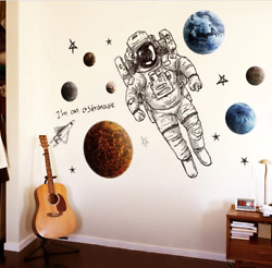 Nordic Astronaut Wall Stickers Outer Space Planet Galaxy Decorative Home Rooms $17.50