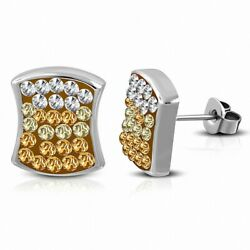 Earrings Nails Square Concave Stainless Steel with Check and Cobblestone