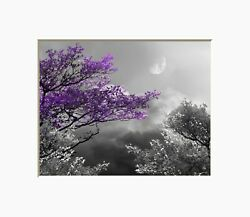 Black White Purple Wall Art Tree Moon Home Decor Bedroom Matted Wall Picture $19.99