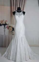 "Luxury Open Back Lace Mermaid Wedding Dress From""Milano By Eddy K"". Size 8"