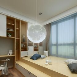 18 20 22cm Ceiling Lamp LED 3D Printing Light Moon Pendant Chandelier Decor $41.84