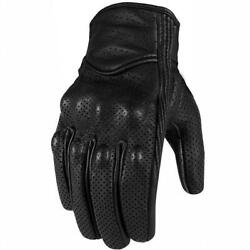 Genuine Leather Motorcycle Gloves Perforated Full Finger Touch Scree M L XL XXL $17.99