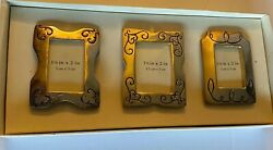 """Pier 1 Set Of 3 Gold Tone Etched Mini Frames 1.25""""X 2"""" New In Box $10.80"""