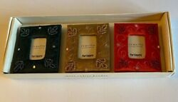 Pier 1 Set of Embroidered Beaded Fabric Mini Frames New In Box. Red Green Gold $9.50