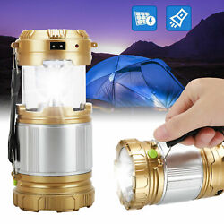 Solar 6 LED Portable Light Rechargeable Lantern Outdoor Camping Hiking Lamp $14.48