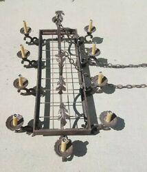 Vintage French Old World Charm 10 Arm Lighted Scroll Leaf Forged Iron Chandelier