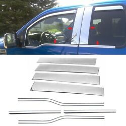 For 2009-2014 Ford F150 Super Extended Cab Chrome Window Sill + Pillar Post Trim