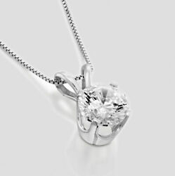 14K White Gold Round Enhanced Earth-Mined Diamond Pendant Necklace 2.40 CT FVS2