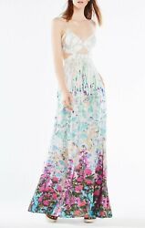 NWT $598 BCBG MAXAZRIA RUNWAY DRESS SUMMER FLORAL 2 XS 0 GREEN GRAY
