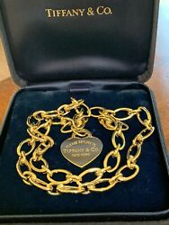 Tiffany & Co 18K Gold 28 Clasp Clasping Oval Link Heart Pendant Necklace 41.3 GR
