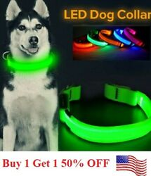 SAFETY LED Dog Pet Light Up Collar Night Glow Adjustable Bright 5 Color Leash XS $5.99