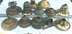 LOT OF 12: USED STEEL amp; BRASS SHADE HOLDERS CANOPY FIXTURES LAMP PARTS #3FX $58.50