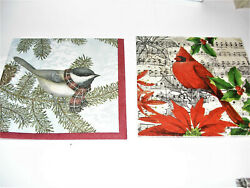 PAPER NAPKINS CHRISTMAS BIRDS COCKTAIL SIZE 4 IN LOT 2 OF EACH $1.79