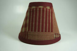 Country Burgundy Patchwork Fabric Chandelier Candle Lampshade Lamp Shade $15.99