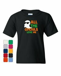 All The Ghouls Love Me Youth T-Shirt Halloween Ghost in Glasses Girls Kids Tee