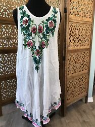 Fashion Force Embroidered White Summer Beach Dress One Size New $12.95