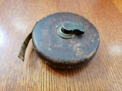 Antique Leather Chesterman Sheffield England 50 foot Measuring Tape Tool