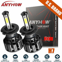 4 Sides CREE H7 2500W 375000LM LED Headlight Kit High Lo Light Bulb 6000K HID $12.98