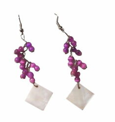 Pierced earrings dangle chandelier purple round beads 3quot; drop $11.98