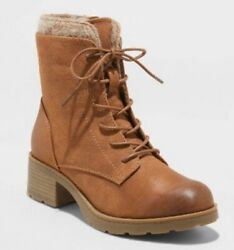 NEW Womens Boots Dez Microsuede Lace Up With Zipper Universal Thread Cognac Sz 9 $28.99
