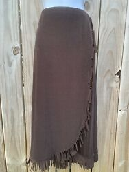 New Choices Brown Skirt XL with Fringe Knit Retail $50 Elastic Waist Pocahontas $26.95