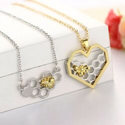 Bee Chain Pendant Necklace Classic Heart Hollow Honeycomb Honeybee Necklaces