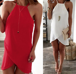 Ladies Red or White Chiffon Beach Spring Summer Short Loose Dress Size 10-12 $18.70