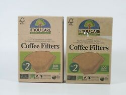 2 If You Care NO 2 Coffee 100 Filters Unbleached Chlorine Free = 200 Brown cone $13.50