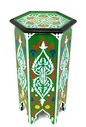 Moroccan Pedestal Table Painted Solid Tall Green Handmade Authentic Home Decor $327.75