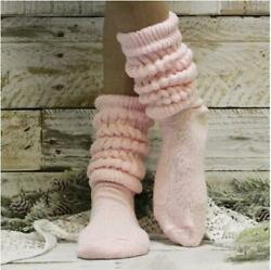 CUDDLY cotton Hooters style slouch socks women pink MADE IN USA $9.99