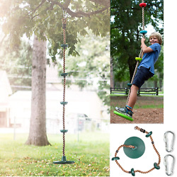 12#x27;#x27; Climbing Rope with Platform amp; Disc Tree Swing Seat Set Fun For Kids Outdoor $36.99