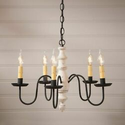 Country Inn 5 Arm Wood Chandelier in White. Country Chandelier Lighting $265.95