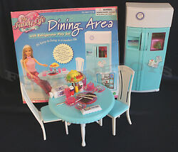 Fancy Life DOLLHOUSE FURNITURE DINING AREA Room w Refrigerator PLAYSET FOR Dolls $13.95