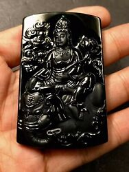 Top Natural Black Jadeite ice Green jade Samantabhadra Bodhisattva pendant