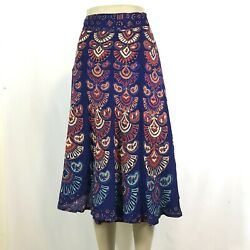 Indian Mandala Boho Hippie Printed Wrap Around Skirt Rayon BLUE $15.99